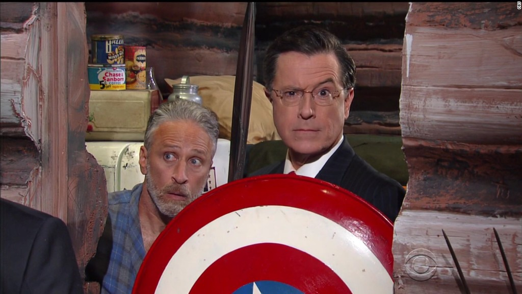 Jon Stewart and Colbert persona appear on 'Late Show'