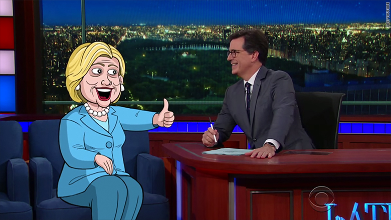 stephen colbert cartoon hillary