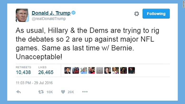 donald trump tweet debates
