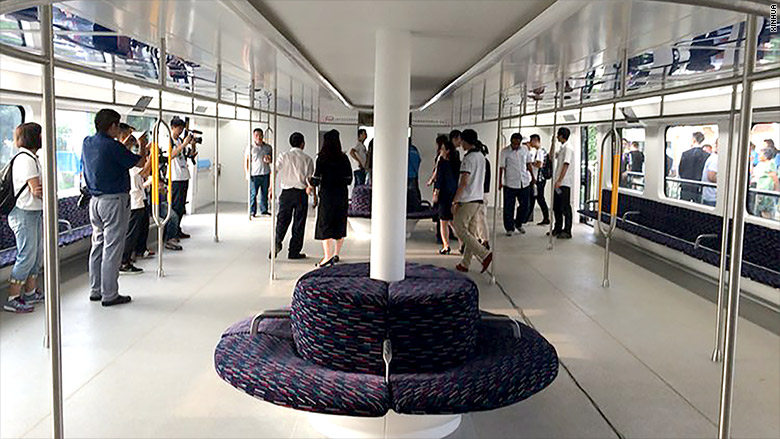 elevated bus interior
