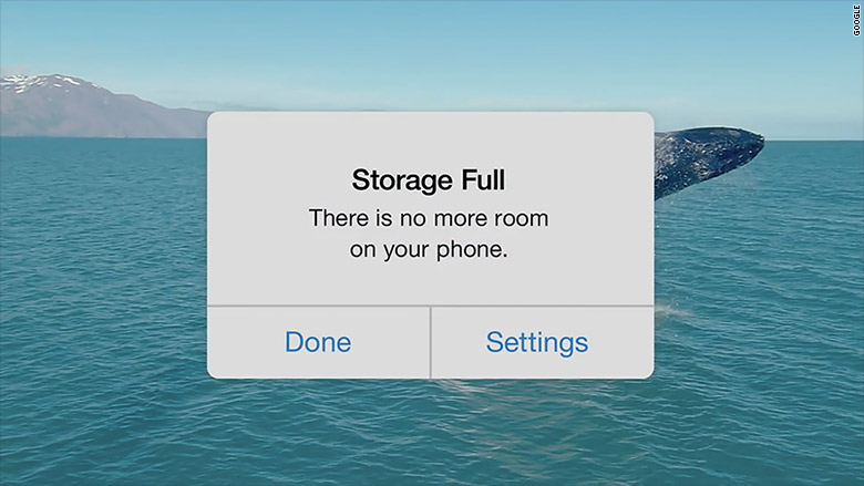 apple storage full google