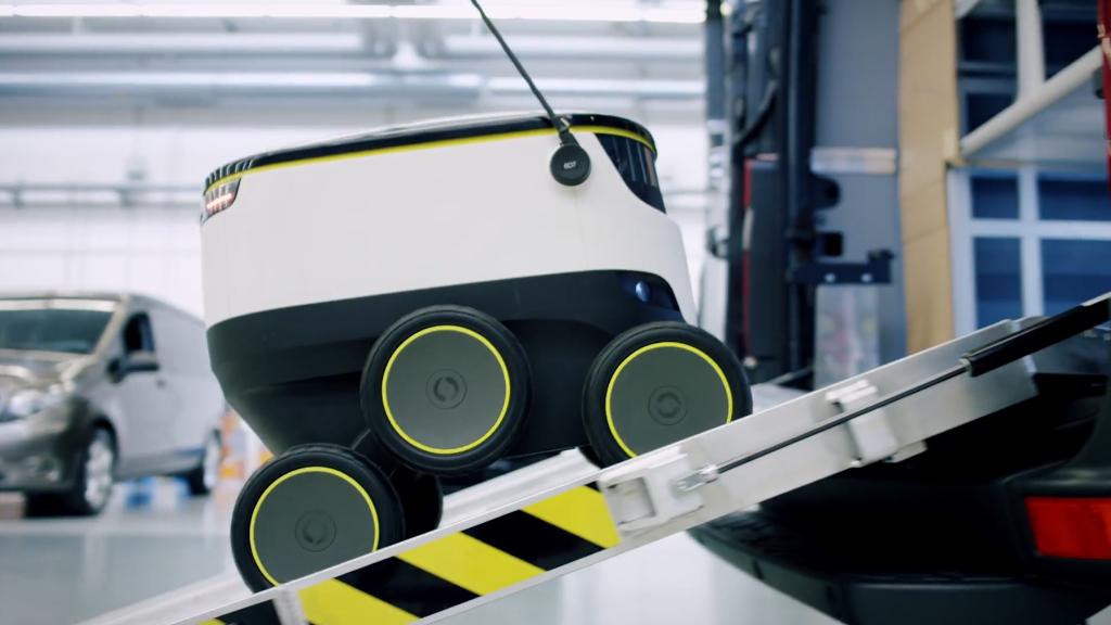 This Mercedes van carries a fleet of delivery robots