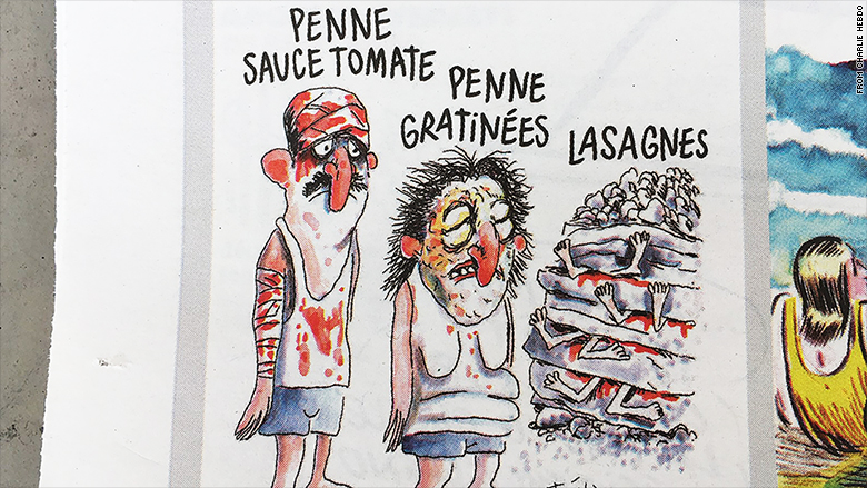charlie hebdo earthquake pasta