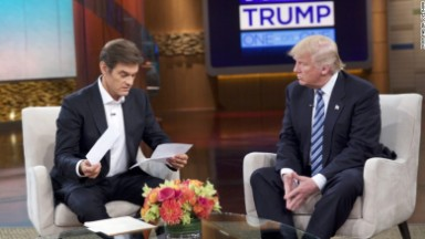 'Dr. Oz' looks over his head in Donald Trump interview