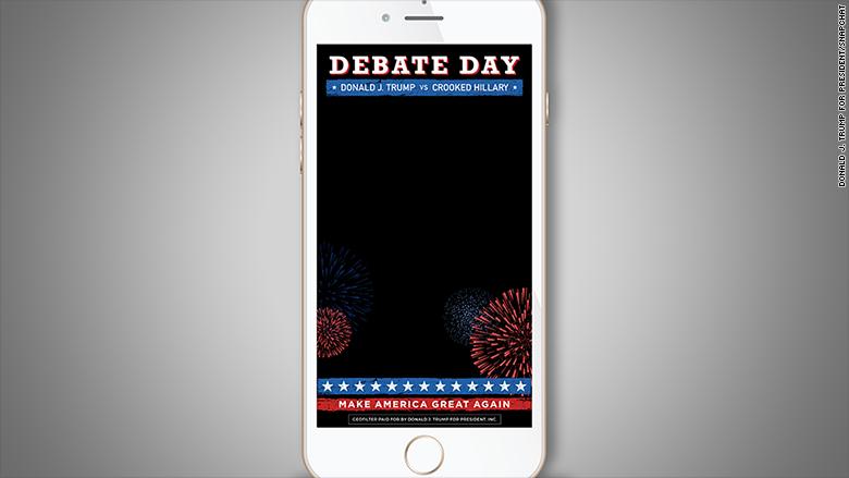 trump debate snapchat instory