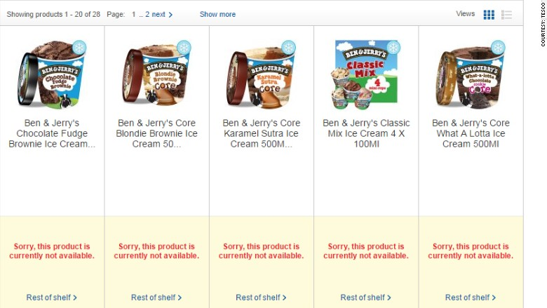 tesco Ben and Jerry