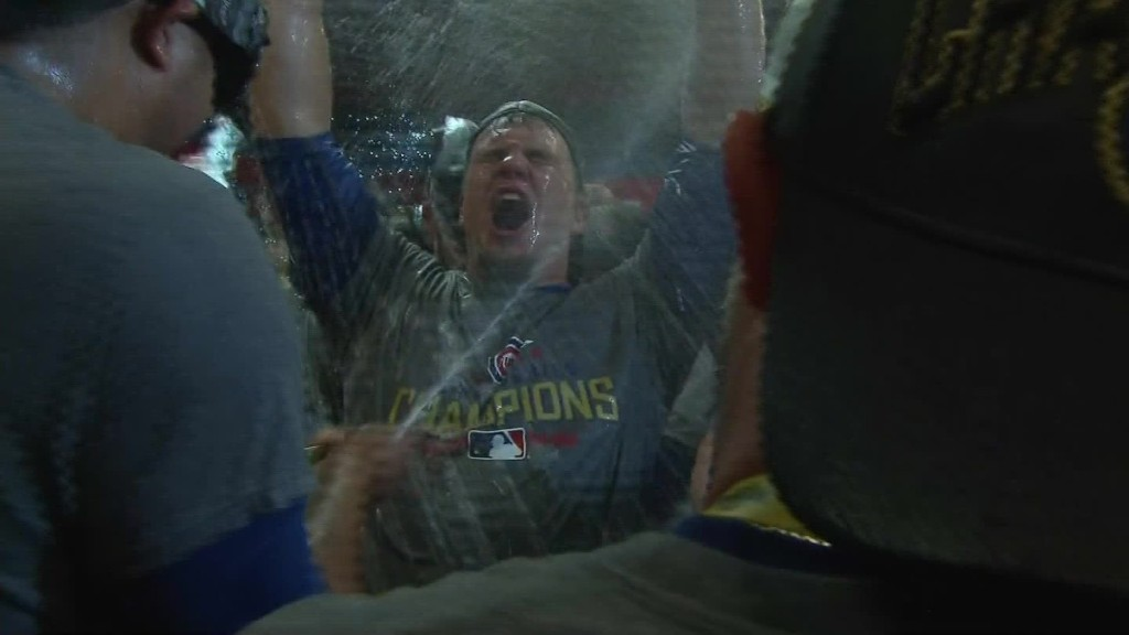 Pop the champagne: Cubs celebrate World Series win