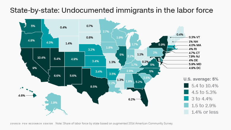 unauthorized immigrants map