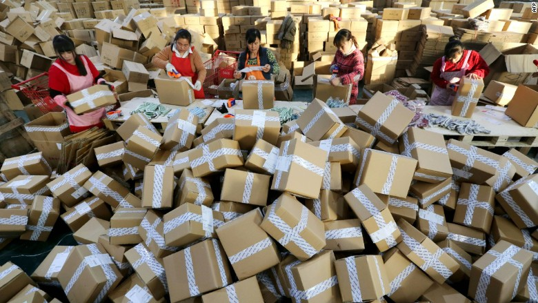 Singles Day China online shopping packaging shipping