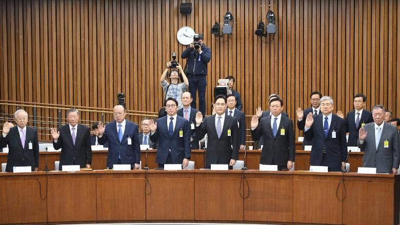 south korea hearing samsung hyundai political scandal chaebol