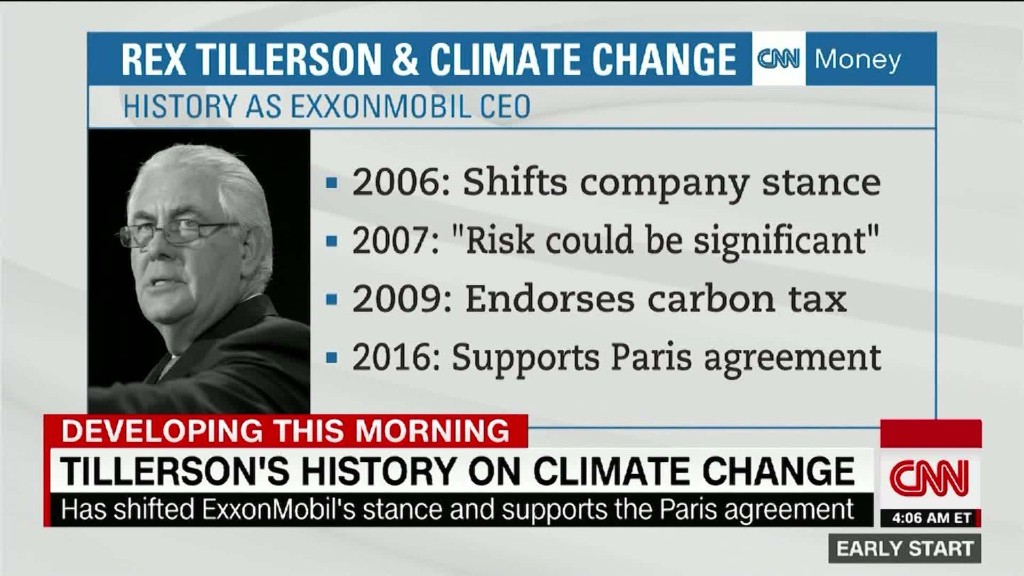 Rex Tillerson's complicated relationship with climate change