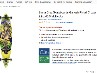 8a72a67e5dcc3 A screenshot of the skateboard bearing Hindu god Ganesha on Amazon. The  product has since been removed.
