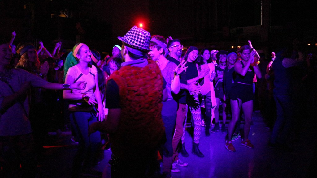 A high-tech dance party before dawn
