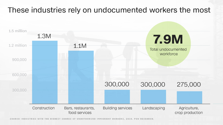 top industries for undocumented workers