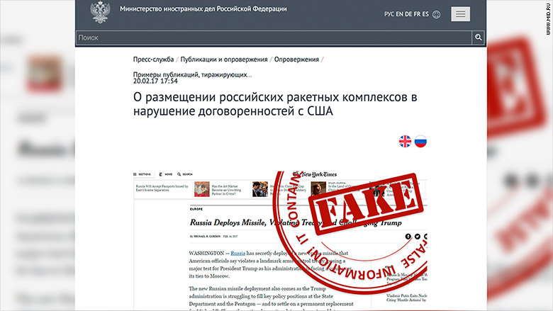 Russia is compiling a list of 'fake news' by foreign media