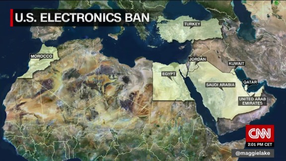 U.S. and U.K. ban laptops and other devices on flights from Middle East