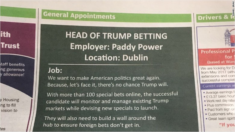Paddy Power Trump job