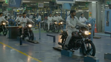 A motorbike rolls out of this plant every 18 seconds