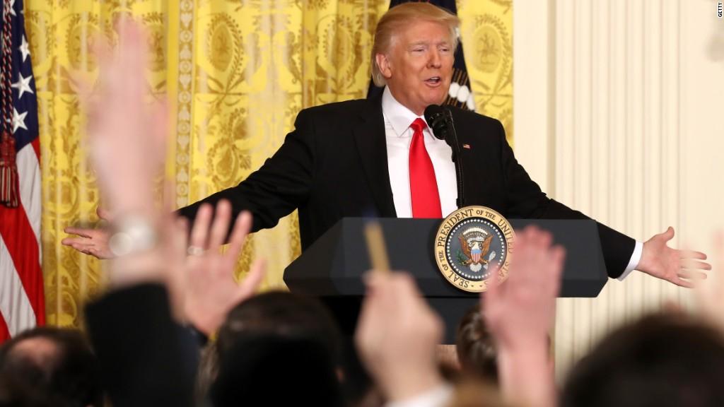 Donald Trump walks away during CBS interview