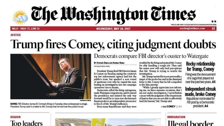 washingon times front page
