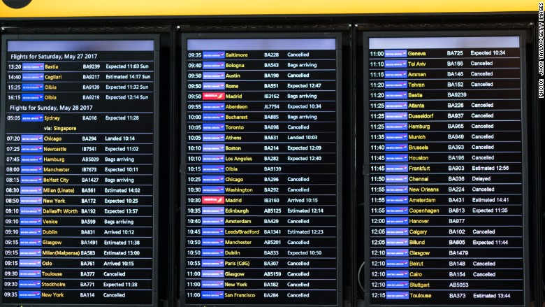 British airways cancelled flights