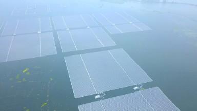 This solar farm floats atop a flooded coal mine