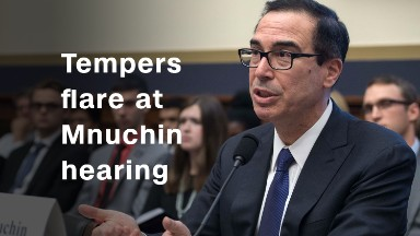 Tempers flare at Mnuchin hearing