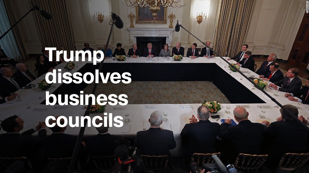 Trump dissolves business councils