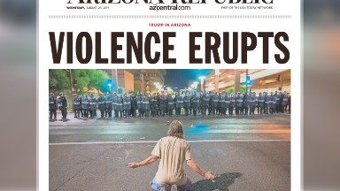 The Arizona Republic front page played Trump rally with a different approach