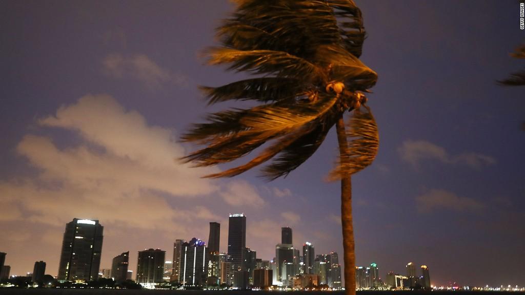 Miami skyline slammed by 100 mph winds