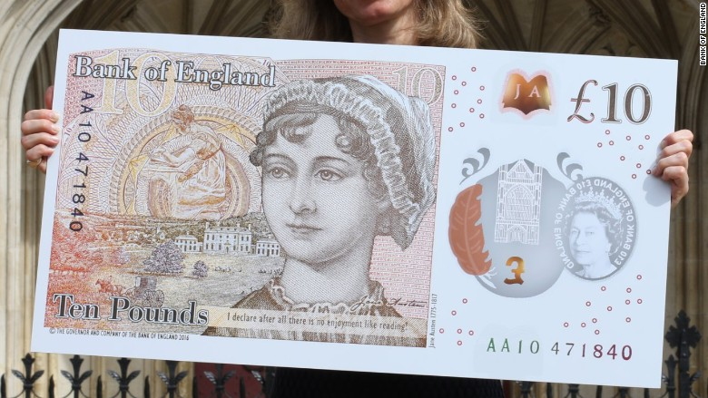 uk cash 10 banknote jane austen
