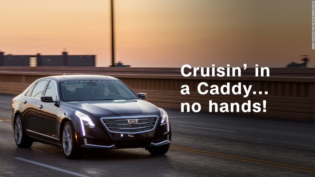 Cruisin' in a new Cadillac...no hands!