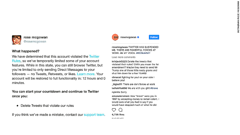 suspended instagram rose mcgowan