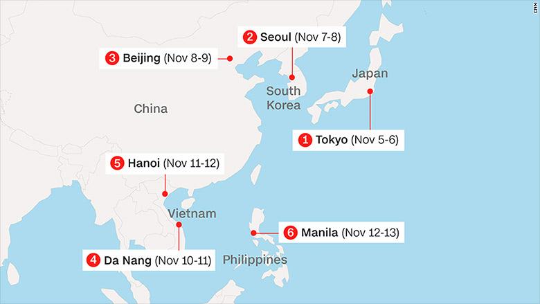 Trump Asia trip map