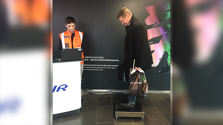 finnair weighing passengers