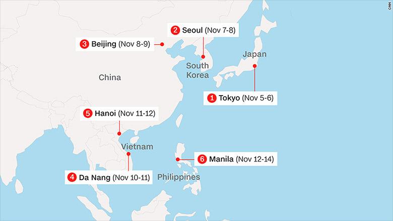 Trump Asia trip map 20171106