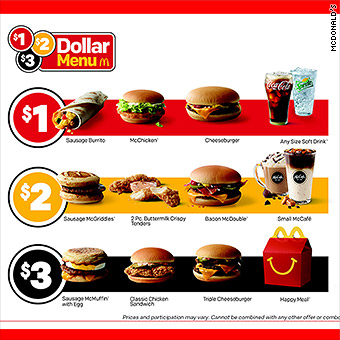 Mcdonalds Returns To Value Pricing With 1 2 3 Dollar Menu