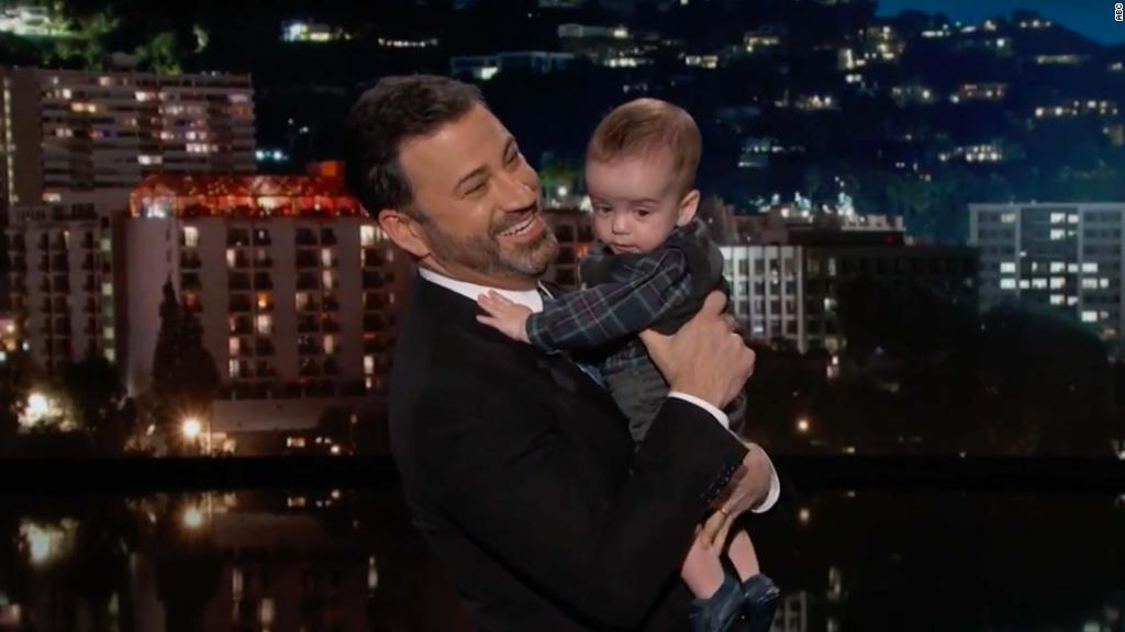 Kimmel brings son on show, gets emotional