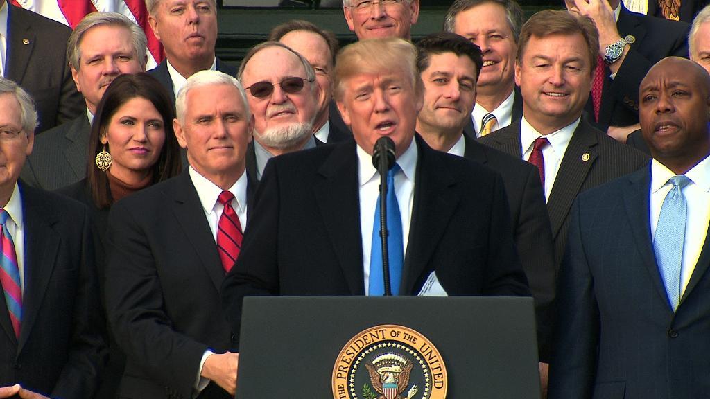 Trump celebrates GOP tax victory