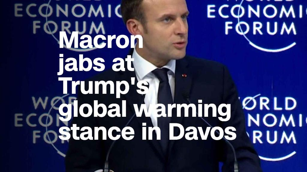 Watch Macron jab at Trump's global warming stance in Davos