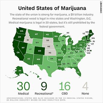 Medical Marijuana States Map 2016.The U S Legal Marijuana Industry Is Booming