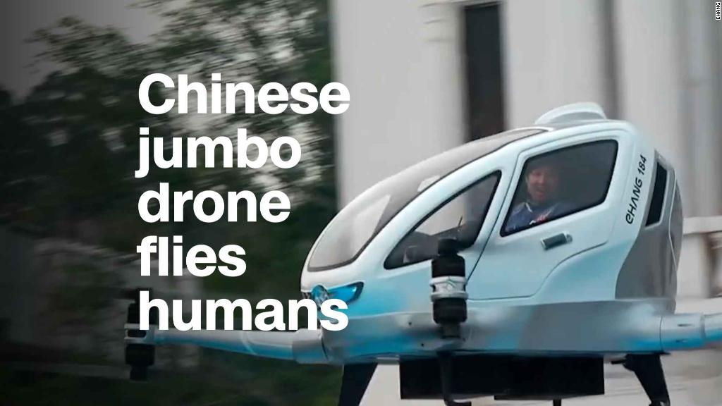 Chinese jumbo drone flies humans