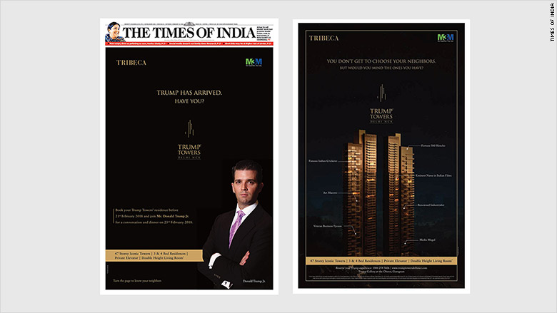 trump india ad split