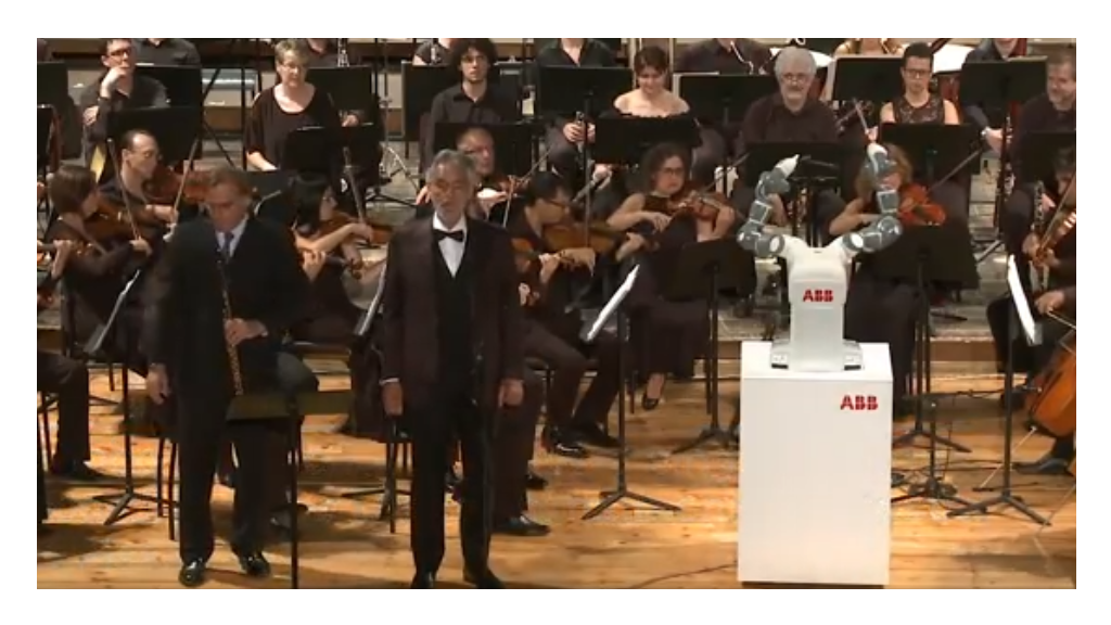 Robot conductor for Andrea Bocelli concert