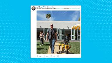 Jeff Bezos takes robotic dog for a walk