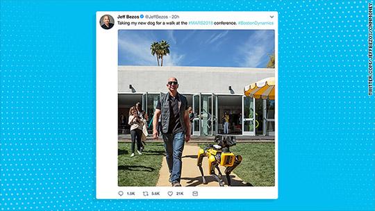 Jeff Bezos Takes Robotic Dog For A Walk