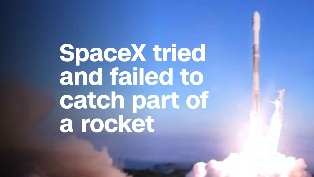 SpaceX tried to catch part of a rocket with a net. It didn't work.