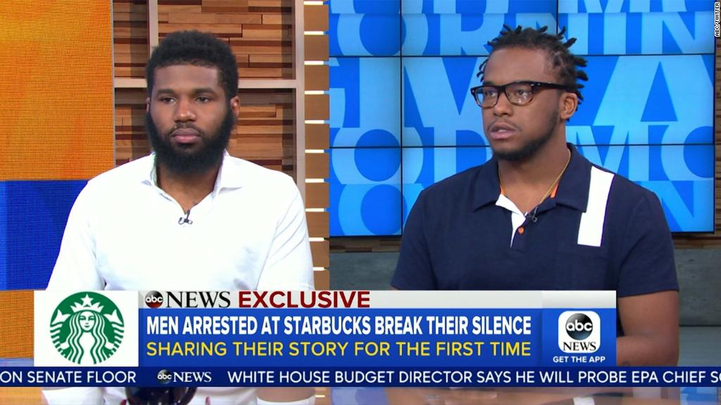 Two men arrested at Starbucks demand change