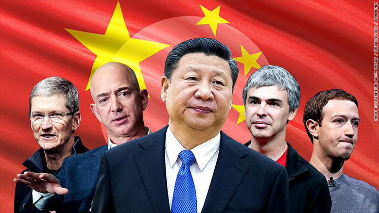 pacific jinping cook bezos page zuckerberg tim jeff larry mark tech ceos companies china