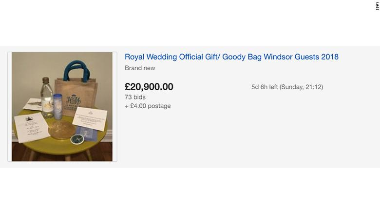 Royal wedding guests are selling their goody bags online for as much as $10,000